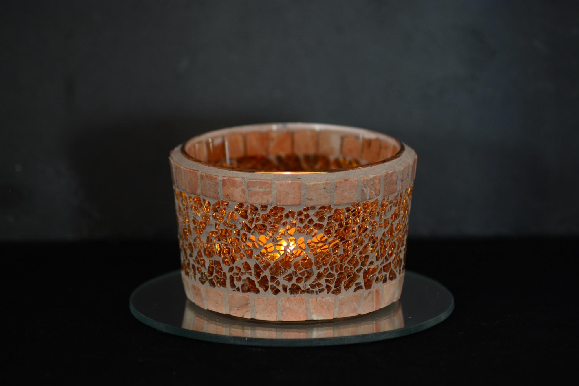 Mosaik Teelichtglas mittel orange/marmor
