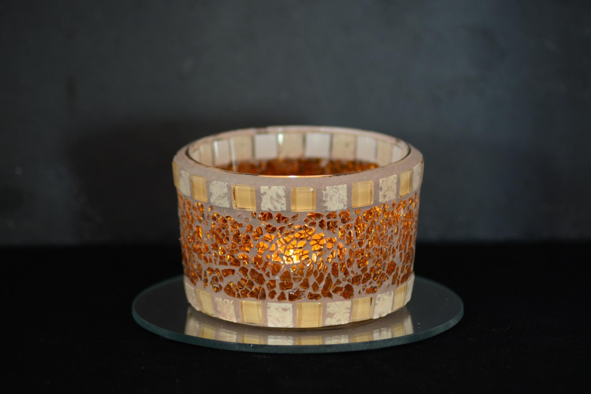 Mosaik Teelichtglas mittel orange/creme