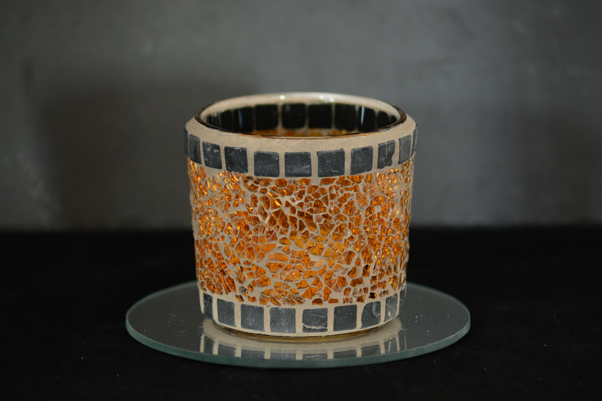 Mosaik Teelichtglas orange/grau