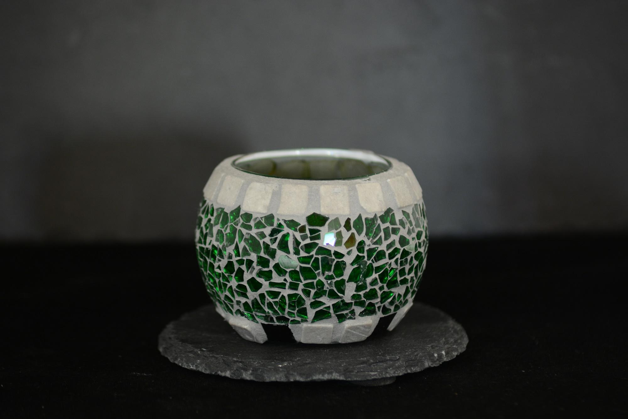 Mosaik Teelichtglas rund mini grün/grau