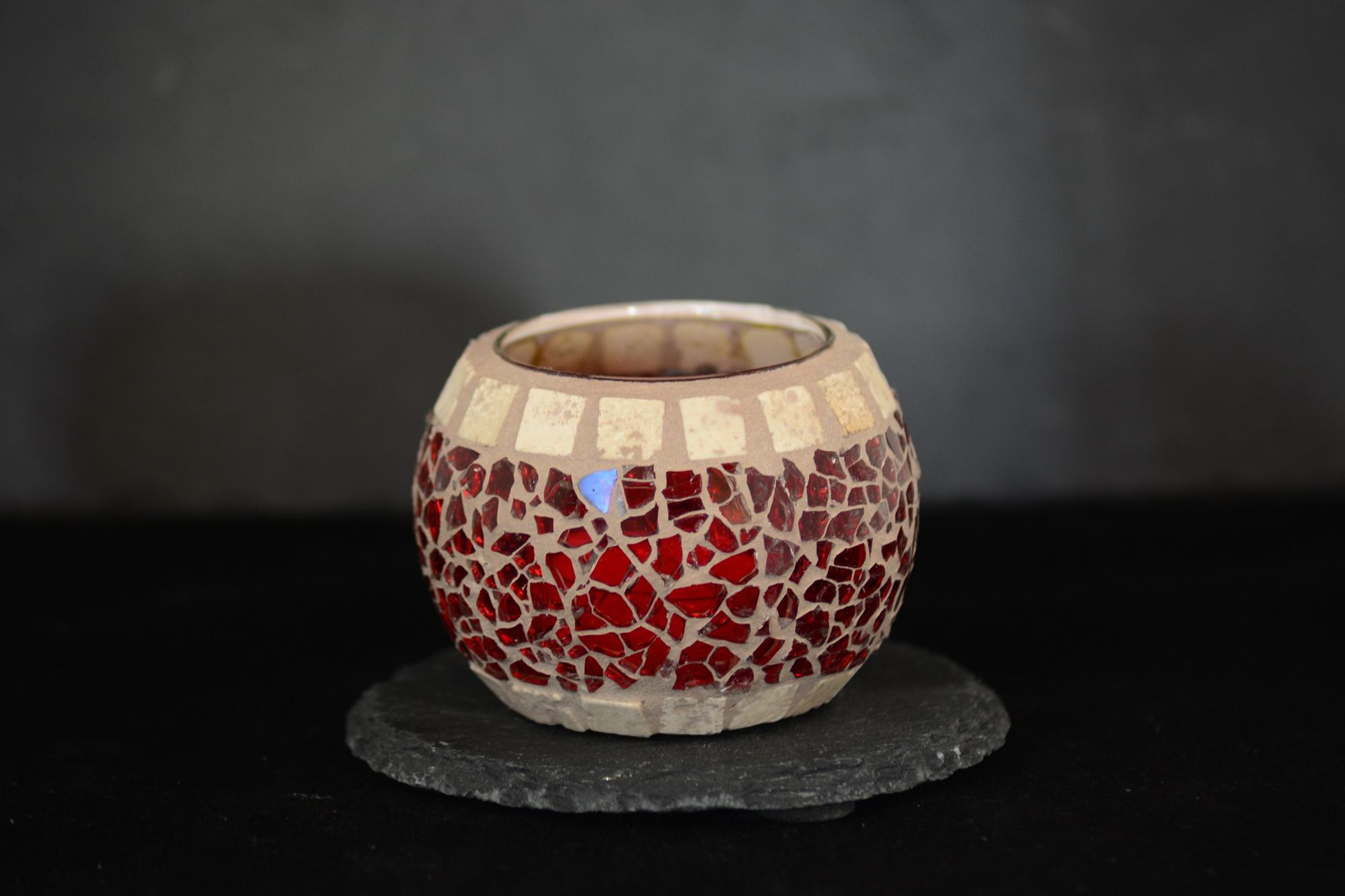 Mosaik Teelichtglas rund mini rot/marmor