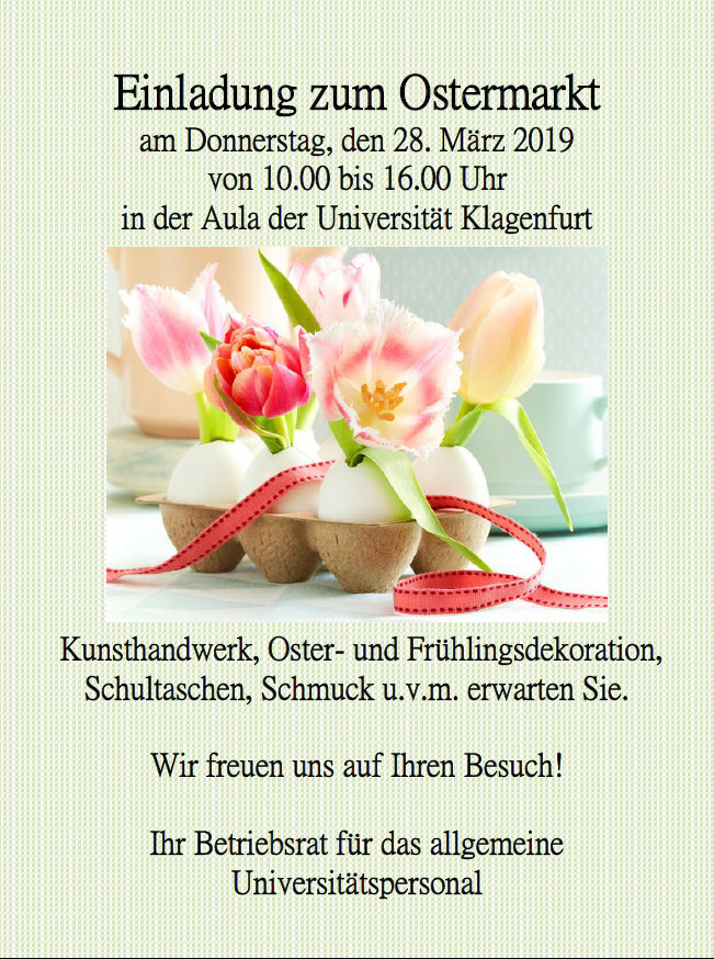 Ostermarkt Rathaussaal Wolfsberg 12.-13. April 2019