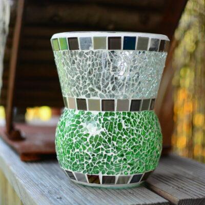 Mosaik Windlicht Vase grün grau transparent