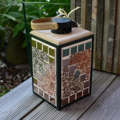 Mosaik Laterne schwarz kupfer/braun/orange