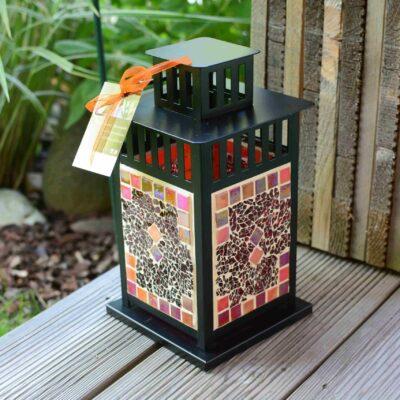 Mosaik Laterne schwarz orangemix rot Deko