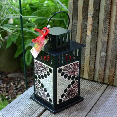 Mosaik Laterne schwarz rot silber
