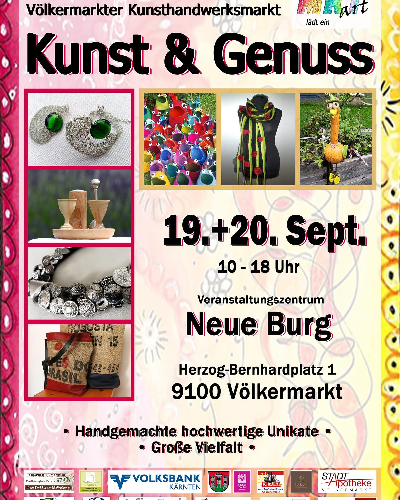 19. – 20.9.2020: Kunst & Genuss Markt in Völkermarkt