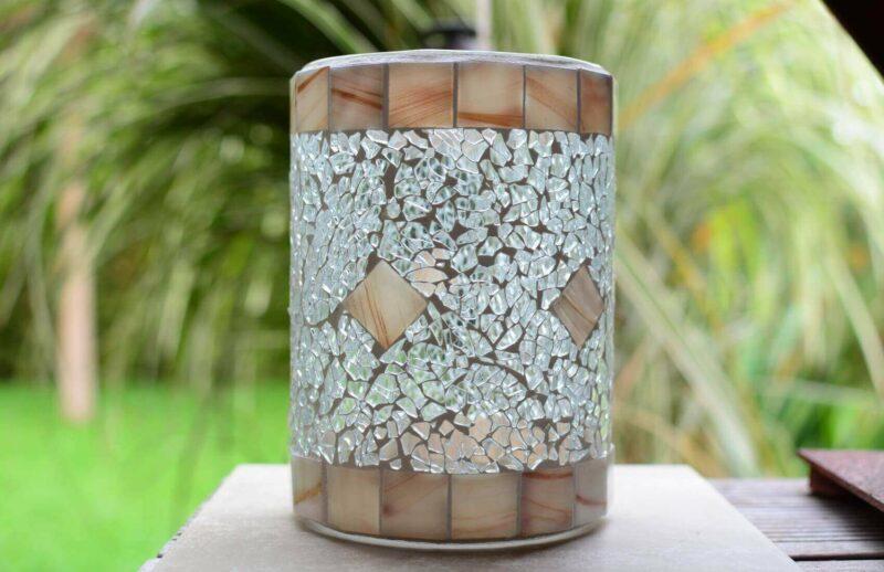 Glasmosaik Windlicht Vase marmoriert und transparent
