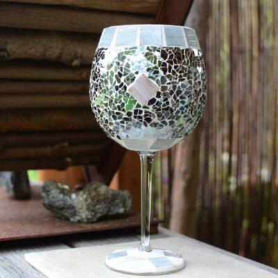 Glasmosaik Windlicht Kelch in grau marmoriert
