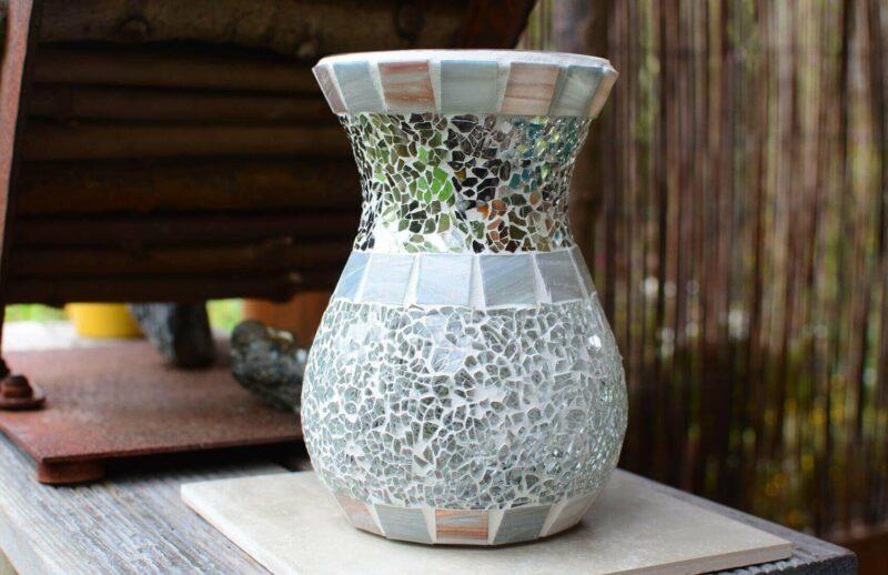 Glasmosaik Windlicht Vase bauchig grau transparent