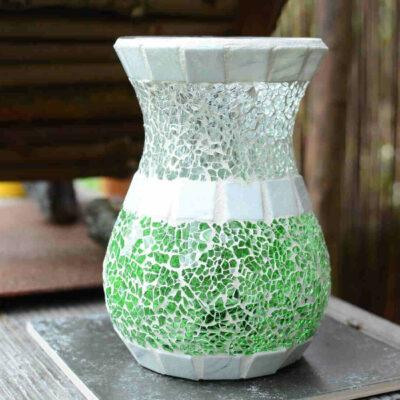 Glasmosaik Vase Windlicht grün weiß