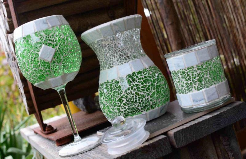 Deko Set Mosaik in grün weiß