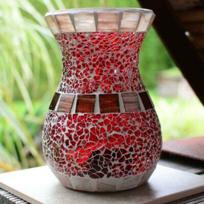 Glasmosaik Windlicht/vase bauchig rot/braun