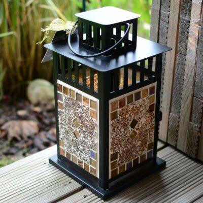 Mosaik Laterne schwarz braun braunmix - Glasmosaik