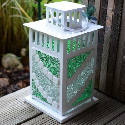 Mosaik Laternen weiß grün/transparent/weiß