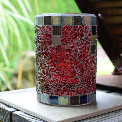Mosaik Windlicht Vase rot graumix