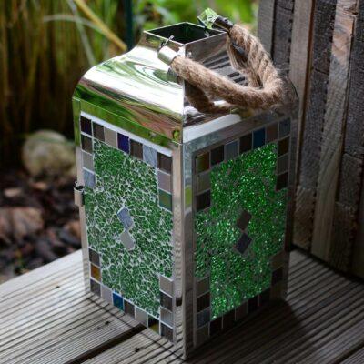 Mosaik Laterne aus Edelstahl in grün graumix