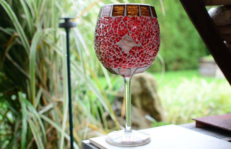 Glasmosaik Windlicht Kelch rot-braunmix
