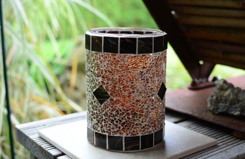 Glasmosaik Windlicht/Vase braun/braunmix von EvaArtist Glasmosaik
