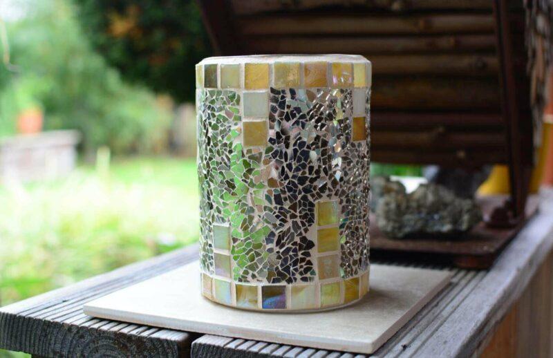 Windlicht Vase Mosaik grau beige