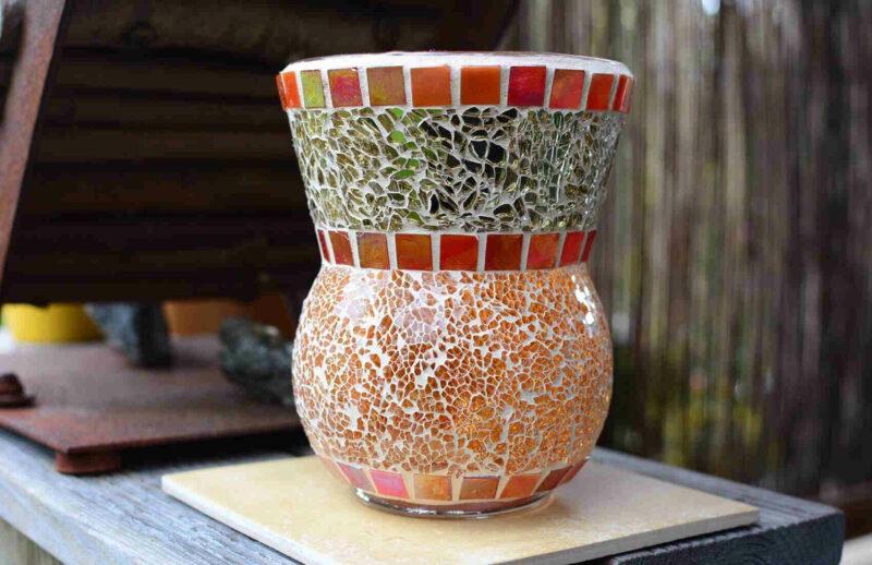 Windlicht Vase orange cremegold Glasmosaik